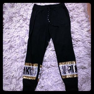 PINK Sweatpants with gold&black sequins